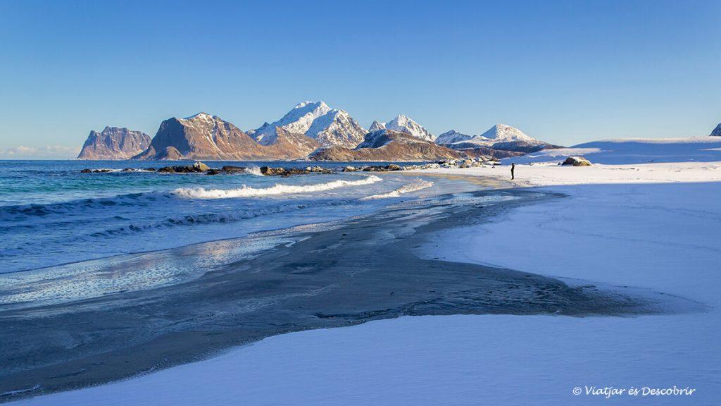 paisatge nevat de la platja a les illes lofoten