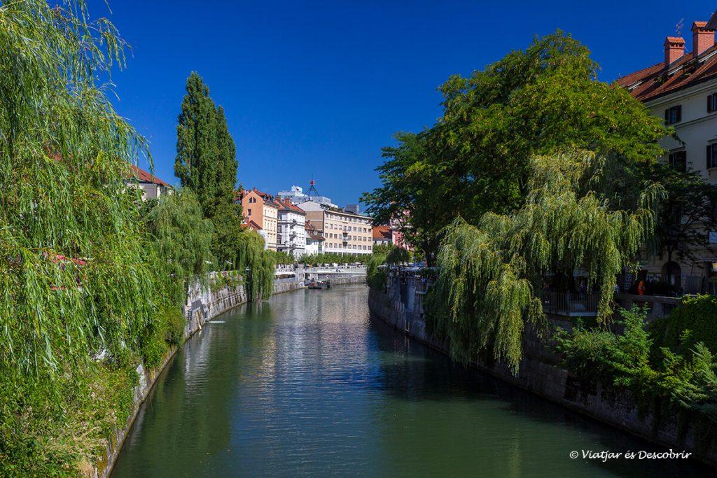 la ribera del riu de ljubljana a la part cèntrica de la ciutat