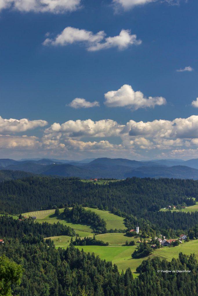 vista vertical que es pot veure des de la part superior del turó proper a Ljubljana